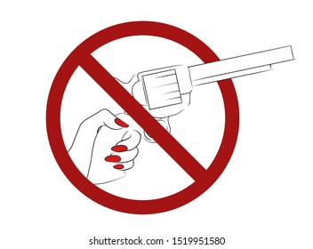 Stop violence and war. Outline drawing of a pistol with hand in prohibition sign. Ban on the kill. Vector element for logos, icons, articles and your design.