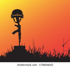 Stop War  Save Life,soldier gun and helmet vector. Grave of a fallen soldier,Death of the military.
