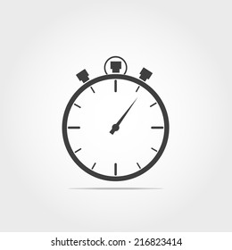 Stop watch icon on white background