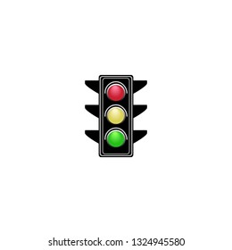 Stoplight sign. Icon traffic light on white background. Symbol regulate movement safety and warning. Electricity semaphore regulate transportation on crossroads urban road. Vector illustration