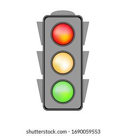 Stoplight sign. Icon traffic light on white background. Symbol regulate movement safety and warning. Electricity semaphore regulate transportation on crossroads urban road. Flat vector illustration