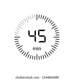 Stopwatch 45 minutes Timer Clock Icon Vector Illustration