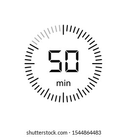 Stopwatch 50 minutes Timer Clock Icon Vector Illustration