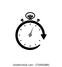 stopwatch black solid icon with modern design, isolated on white background. flat style for graphic design template. suitable for logo, web, UI, mobile app. vector illustration