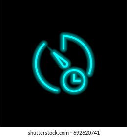 Stopwatch blue glowing neon ui ux icon. Glowing sign logo vector