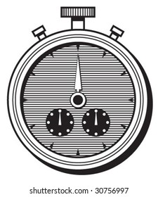 Stopwatch b&w illustration