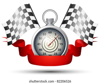 Stopwatch with checkered racing flags and red banner ribbon. Vector