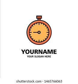 Stopwatch, Clock, Fast, Quick, Time, Timer, Watch Business Logo Template. Flat Color. Vector Icon Template background