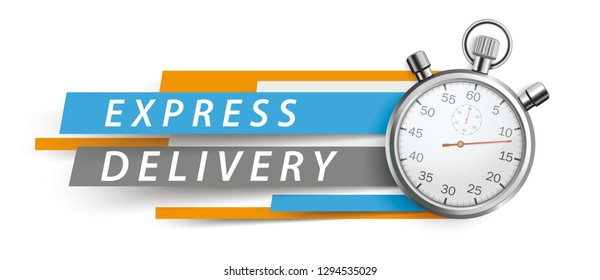 Stopwatch with colorful paper lines and text express delivery on the white background. Eps 10 vector file.