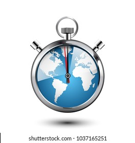 Stopwatch concept - world map as clock face