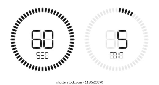 Stopwatch digital countdown timer with minutes and seconds vector display. Isolated black on white background