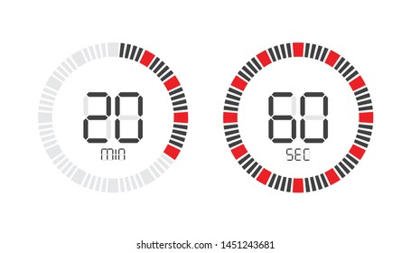 Stopwatch digital countdown timer with minutes and seconds vector display.