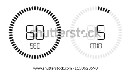 stopwatch digital countdown timer minutes seconds stock vector