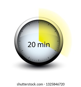 stopwatch with expiring time 20 minutes web icon isolated