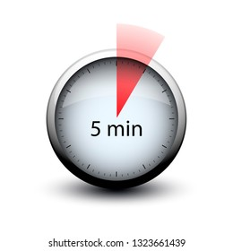 stopwatch with expiring time 5 minutes web icon isolated