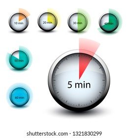 stopwatch with expiring time n minutes web icon isolated