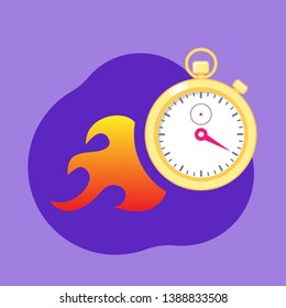 Stopwatch with fire sign on violet background. Concept of faster running time, deadline.