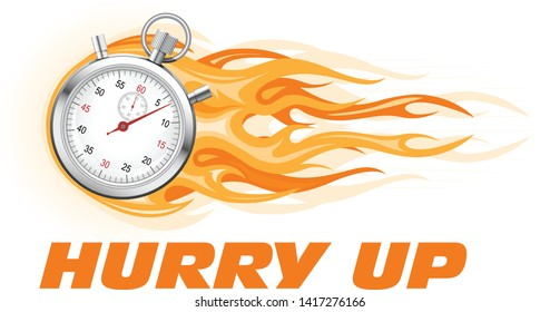 Stopwatch in flame - hurry up banner, limited time offer