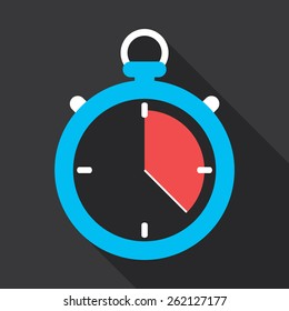 Stopwatch flat icon design. Running out of time concept.