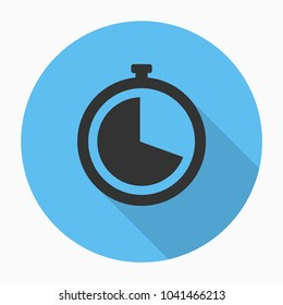 Stopwatch flat icon with shadow. Vector illustration.
