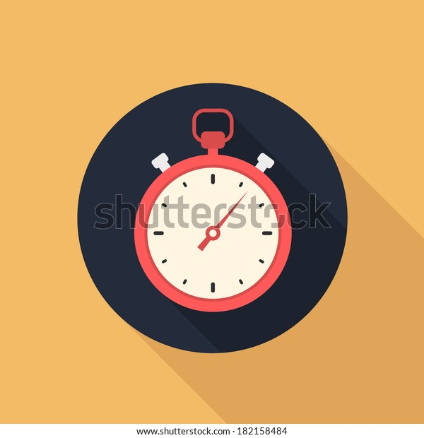 stopwatch flat style vector icon