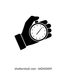 Stopwatch in hand, icon black isolated on white background. Vector illustration flat design. Sport timer on competitions. Trainer holding stopwatch. Start, finish. Time management.