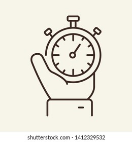 Stopwatch in hand line icon. Timer, watch, chronometer. Start concept. Vector illustration can be used for topics like startup, countdown, deadline, time