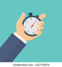 Stopwatch in hand. Timer. Time management. Vector illustration. Flat design for business financial marketing banking advertising web concept cartoon illustration.