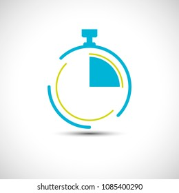 Stopwatch icon 15 minutes simple line pocket watch logo vector illustration