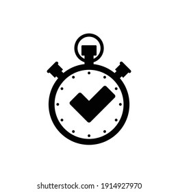 Stopwatch  icon with Checkmark icon timer