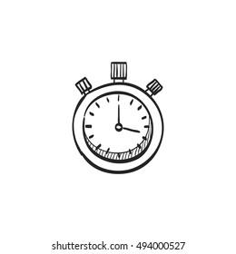 Stopwatch icon in doodle sketch lines. Speed, time, deadline, sport, start, stop