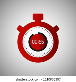 Stopwatch icon in flat style, red timer on gray background. Sport clock. Vector design element for you project. Stopwatch 55 seconds. Vector illustration EPS 10.