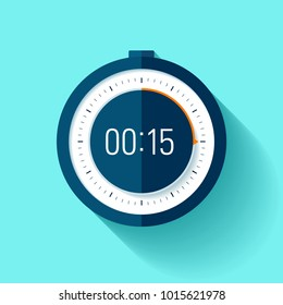 Stopwatch icon in flat style, timer on blue background. Sport clock. Vector design element for you project