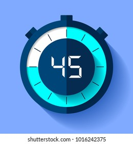 Stopwatch icon in flat style, timer on on color background. Sport clock. Vector design element for you business project