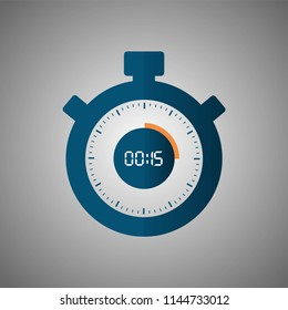 Stopwatch icon in flat style, timer on blue background. Sport clock. Vector design element for you project. Stopwatch 15 seconds. Vector illustration EPS 10.