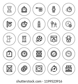 Stopwatch icon set. collection of 25 outline stopwatch icons with billiards, clock, clocks, chronometer, football, fitness, hourglass, offside, stadium icons. editable icons.