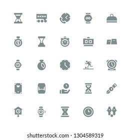 stopwatch icon set. Collection of 25 filled stopwatch icons included Football, Time, Hourglass, Watches, Clocks, Wristwatch, Sandclock, Billiard, Clock, Chronometer, Watch, Gym