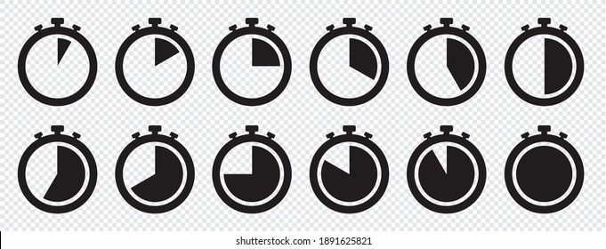stopwatch icon set, Timer, clock, stopwatch symbol. 5 minute to 1 hours isolated on transparent background . Label measure time, cooking time and more, Vector illustration.