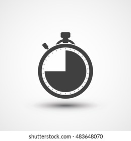 Stopwatch icon. Timer icon. Chronometer. Timekeeper. Chronoscope. Time check. Seconds timer, seconds counter, stopwatch timer icon. Timing device. Timer three quarter icon. 45 sec, min