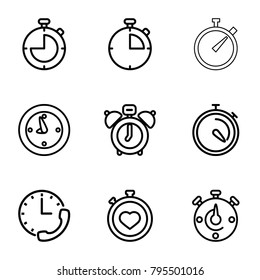Stopwatch icons. set of 9 editable outline stopwatch icons such as clock alarm, stopwatch