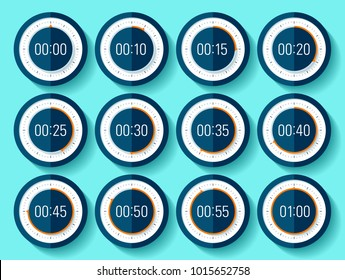 Stopwatch icons set in flat style, timer on blue background. Sport clock. From 0 to 1 minute. Vector design element for you project