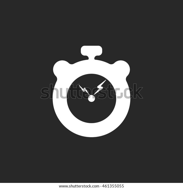 Stopwatch with lightning school subject sign simple icon on background