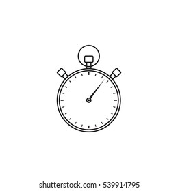 stopwatch line icon, timer for apps, vector graphics, a linear pattern on a white background, eps 10.