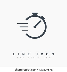 Stopwatch line vector icon