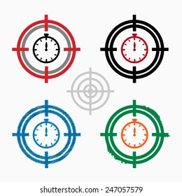 Stopwatch on target icons background. Cross-hair icon. Vector illustration.