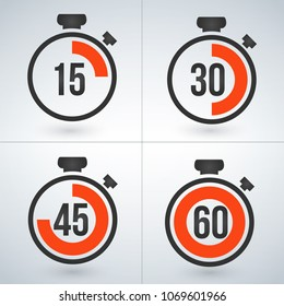 stopwatch set for every 15 minutes. vector illustration isolated on modern background.