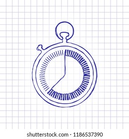stopwatch. simple icon. Hand drawn picture on paper sheet. Blue ink, outline sketch style. Doodle on checkered background