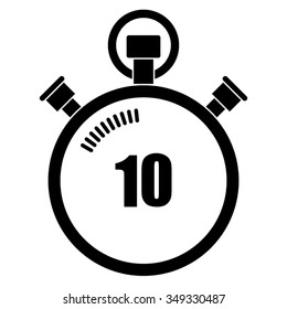 Stopwatch vector icon, 10 seconds