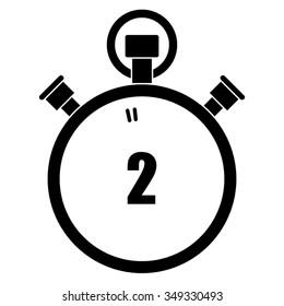 Stopwatch vector icon, 2 seconds