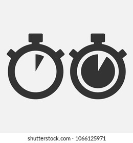 Stopwatch Vector Icon on gray background. Five seconds. EPS 10 vector.